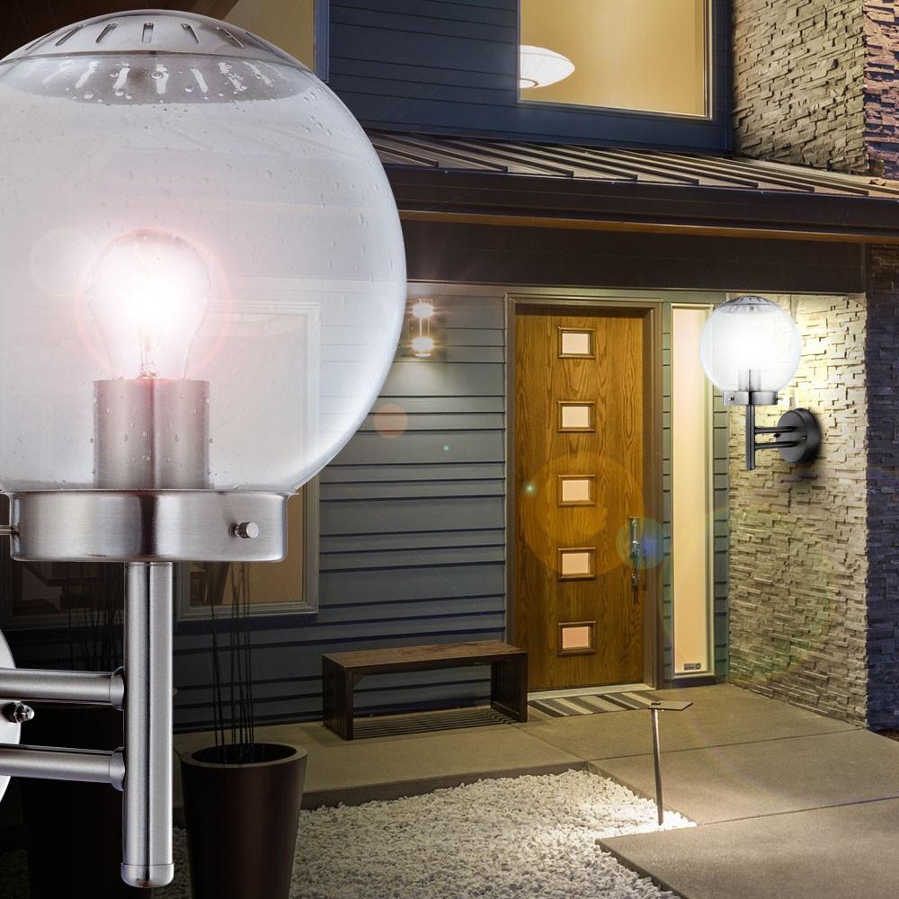 zwei wandleuchten aus edelstahl f r den au enbereich lampen m bel au enleuchten wandleuchten. Black Bedroom Furniture Sets. Home Design Ideas