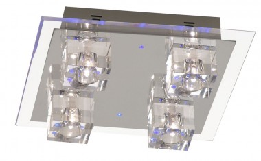Deckenlampe mit blauem led effekt und halogen leuchten for Lampen und leuchten gutschein