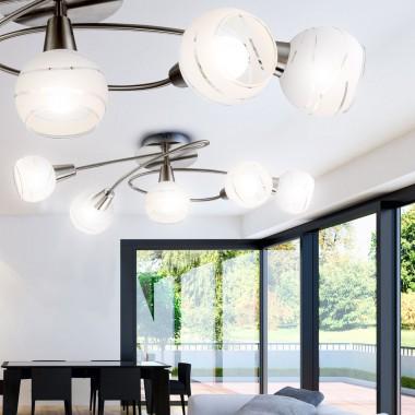 deckenleuchte led 20 watt nickel glas beleuchtung lampe deckenlampe leuchte licht lampen m bel. Black Bedroom Furniture Sets. Home Design Ideas