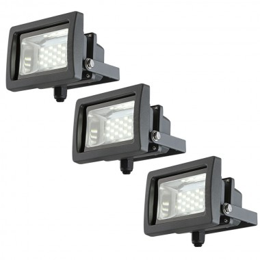 3er Set 10 Watt LED Aussen Leuchten Wand Lampen Bau