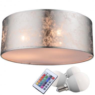10 5 watt rgb led decken lampe farbwechsel beleuchtung dimmer textil leuchte silber lampen. Black Bedroom Furniture Sets. Home Design Ideas
