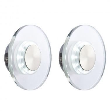 2er set led wand lampen leuchten edelstahl glas rund ip44 au enbereich licht lampen m bel. Black Bedroom Furniture Sets. Home Design Ideas