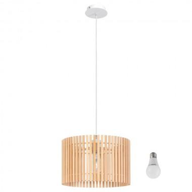 led pendelleuchte mit einem holz lampenschirm lampen m bel innenleuchten h ngeleuchten. Black Bedroom Furniture Sets. Home Design Ideas