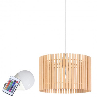 rgb led pendelleuchte mit holz lampenschirm lampen m bel innenleuchten h ngeleuchten. Black Bedroom Furniture Sets. Home Design Ideas
