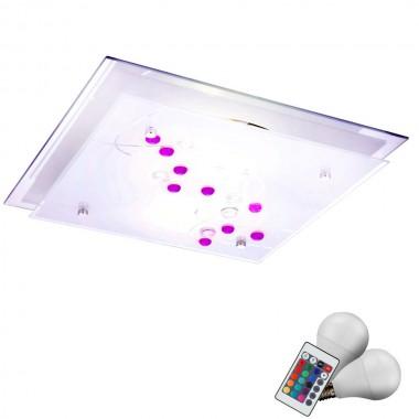 decken lampe leuchte fernbedienung glas dekor steine im. Black Bedroom Furniture Sets. Home Design Ideas