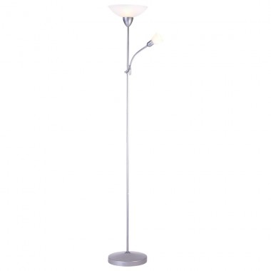 9w led stehlampe aus silbernem metall mit wei en schirmen lampen. Black Bedroom Furniture Sets. Home Design Ideas
