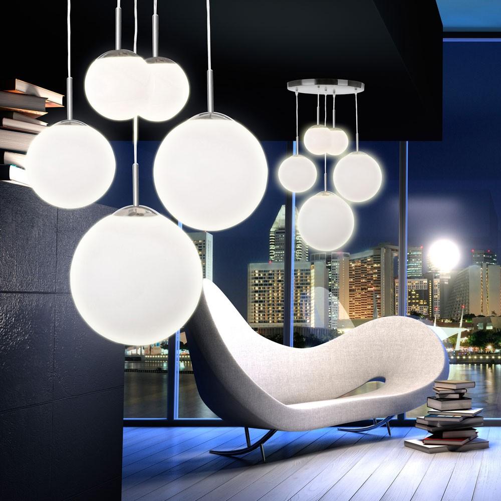 wohnzimmerlampen holz:Hängelampe BALLA 5-flammig aus Metall und satiniertem Glas Lampen